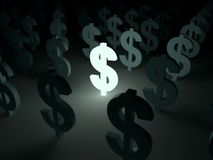 Glowing dolar symbol Stock Image