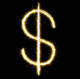 Glowing dollar made of sparkler Royalty Free Stock Photography