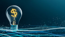 Glowing Dollar Sign in Light Bulb Stock Image