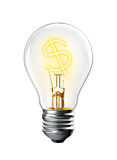 Glowing Dollar Sign in Light Bulb Royalty Free Stock Images