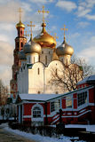 Glowing Domes of Smolensky Cathedral in Novodevichy convent Stock Photography