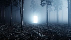 Glowing door in fog night forest. Light portal. Mistic and magic concept. 3d rendering. stock illustration
