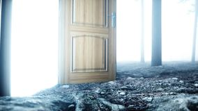 Glowing door in fog night forest. Light portal. Mistic and magic concept. 3d rendering. vector illustration