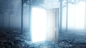 Glowing door in fog night forest. Light portal. Mistic and magic concept. 3d rendering. royalty free illustration
