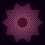 Ten-point star shape abstract neon lights background. Glowing dots and lines. Ten-point star shape abstract neon lights background for your design royalty free illustration