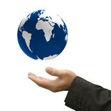 Glowing earth globe in his hands Stock Photo