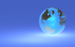 Glowing Earth Globe - Right Orientation. 3D render of a glowing earth globe Stock Image
