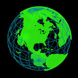 Glowing Earth planet cyber 3D Globe Royalty Free Stock Images