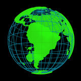 Glowing Earth planet cyber 3D Globe Royalty Free Stock Image