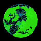Glowing Earth planet cyber 3D Globe. Isolated Earth with cyber neon glowing geographic coordinates (latitude and longitude grid) wire framework. Additional PNG Royalty Free Stock Photos