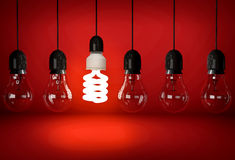 Glowing eco saving bulb hanging on wire in row of incandescent b Royalty Free Stock Photos