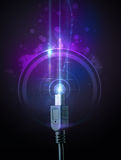 Glowing electric cable Royalty Free Stock Images