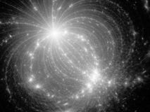 Glowing electromagnetic plasma field in space black and white. Glowing electromagnetic plasma field in space, computer generated abstract background, black and vector illustration