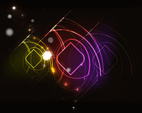 Glowing elements in dark space Stock Photos