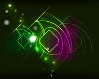 Glowing elements in dark space Stock Image