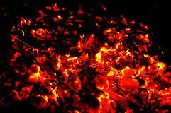 Glowing embers. With flying sparks Royalty Free Stock Images