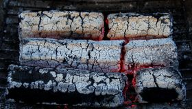 Glowing embers from wooden briquettes Stock Image