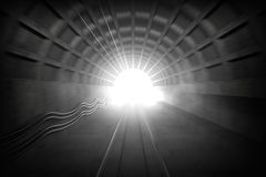 Glowing end of subway tunnel. 3d render illustration with glowing end of subway tunnel. View from train driver cabin with motion blur Stock Photos