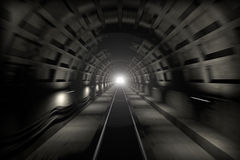 Glowing end of subway tunnel Royalty Free Stock Images