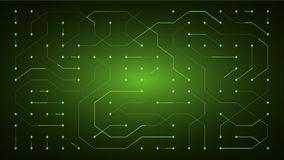 Glowing energy flow through circuit board conductors Royalty Free Stock Photography
