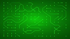 Glowing energy flow through circuit board conductors vector illustration