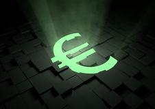 Glowing Euro symbol Stock Photography