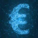Glowing euro symbol with connected lines. vector illustration. Euro symbol with connected lines. suitable for technology, data and blockchain themes vector illustration