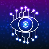 Eye with circuit board, doodle style. Glowing eye with circuit board, technology doodle style vector illustration