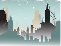 Glowing Fading Stylish Futuristic City Stock Image