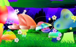 Glowing fairy tale background of brightly light mushrooms. Vector Illustration of a glowing fairyland background of mushrooms flowers  and grass Stock Photography