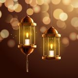 Glowing fanous or vintage fanoos, hanging lantern. Glowing fanous or vintage fanoos, hanging islam lantern or antique arab light with candle at night. Background stock illustration