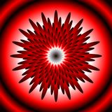 Glowing fantastic attractive flower, design element in optical art style, red, white, black, 3d effect. Vector EPS 10 stock illustration