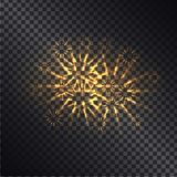Glowing Fiery Sparks on Transparent Background. Glowing fiery sparks with golden rays realistic vector light effect on dark transparent background. Shiny Stock Images