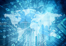Glowing Figures And World Map. Hi-tech Background Royalty Free Stock Photography