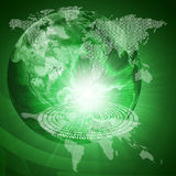 Glowing figures and Earth. Hi-tech background Stock Photo