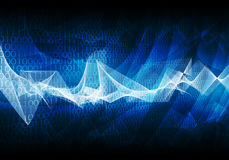 Glowing figures and waves. Hi-tech background Royalty Free Stock Photo