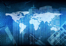 Glowing figures and world map. Hi-tech background. Glowing figures and world map. Hi-tech technological background Stock Photo