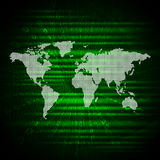 Glowing figures and world map. Hi-tech background Stock Photo