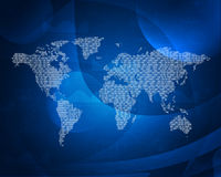 Glowing figures and world map. Hi-tech background Royalty Free Stock Photos