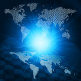 Glowing figures and world map. Hi-tech background. Glowing figures and world map. Hi-tech technological background Royalty Free Stock Photo
