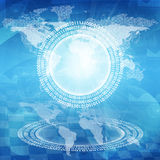 Glowing figures and world map. Hi-tech background. Glowing figures and world map. Hi-tech technological background Royalty Free Stock Images