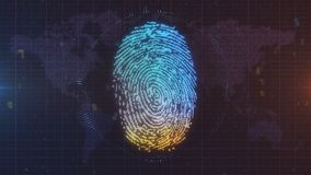 Blue and orange finger print ID on world map background. Glowing fingerprint computer generated image with map of the world in the background, lens flares and Stock Photography