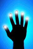 Glowing fingers. Security concept - biometrics. Hand with glowing fingers Royalty Free Stock Photos