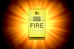 Glowing Fire Alarm Stock Images
