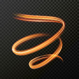 Glowing fire swirl spiral. Vector abstract light effect Stock Photography
