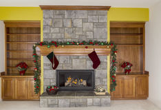 Glowing Fireplace for the Holidays Stock Photo