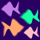 Glowing fish. Four colorful glowing fish over blue background vector illustration Stock Images