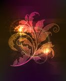 Glowing floral ornament. Dark background with glowing floral ornament and light effects vector illustration
