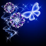 Glowing flowers and butterfly Stock Photos