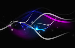 Glowing flowing waves and stars in dark space Royalty Free Stock Image